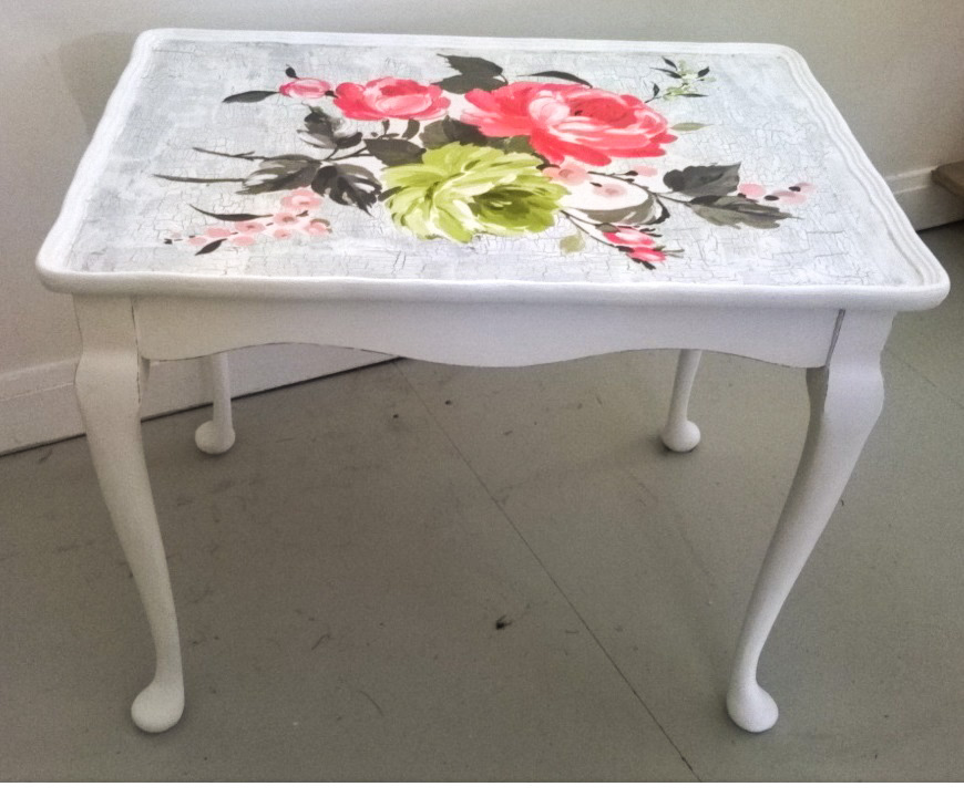 floral table with crackle glaze and decoupage design