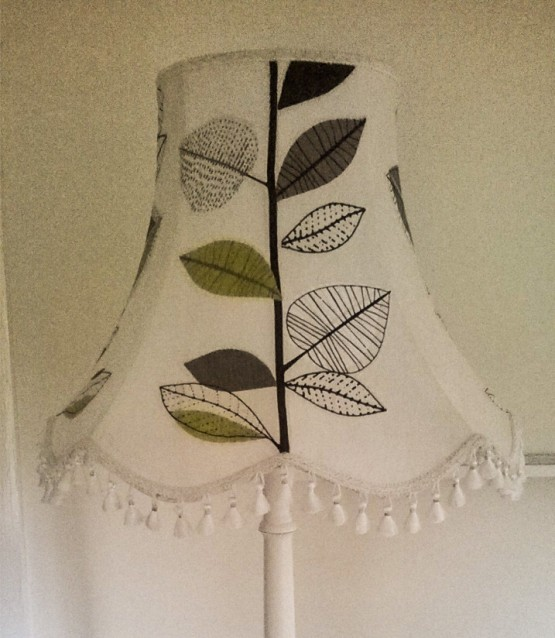 upcycled standard lamp painted with chalk paint mix